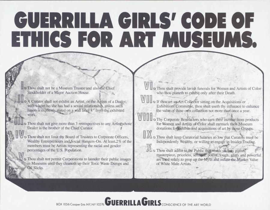Guerrilla Girls' Code Of Ethics For Art Museums 1990 by Guerrilla Girls